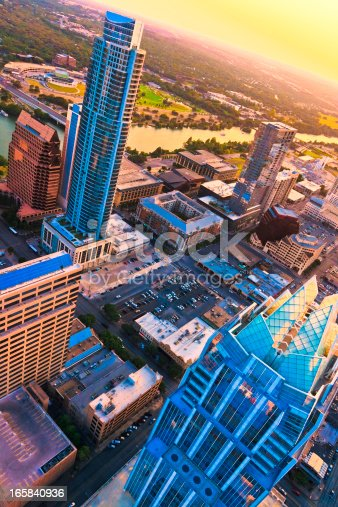 istock Austin Texas skyscrapers aerial skyline at sunset from helicopter 165840936