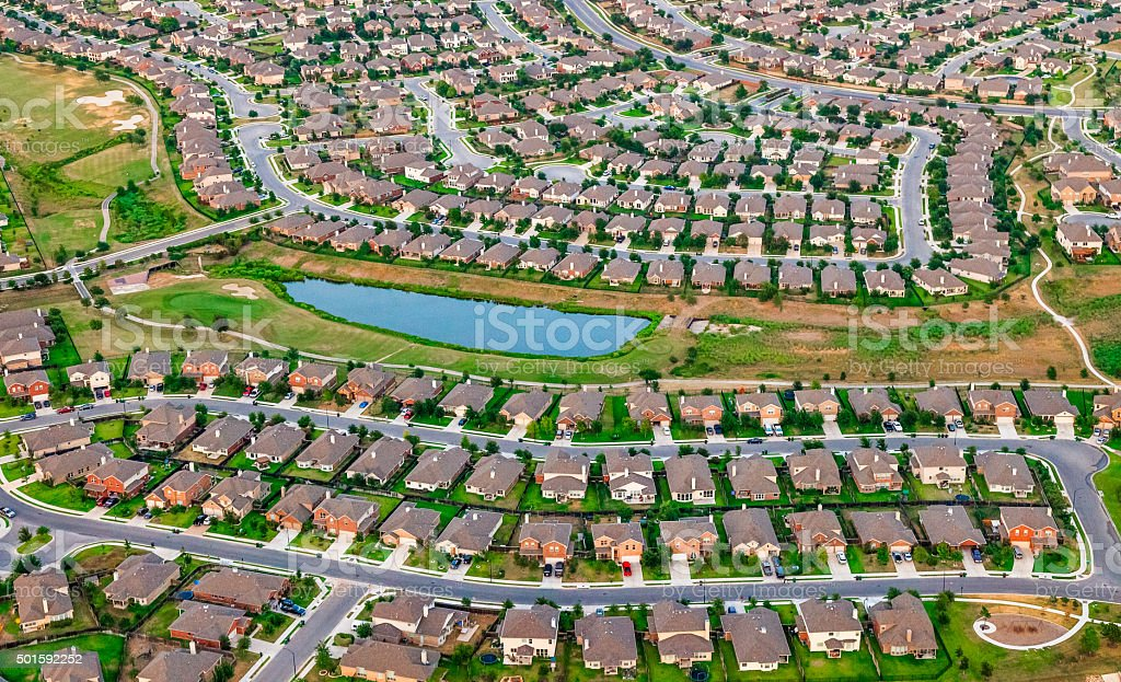 Austin Texas suburbs, housing, green belt, bike path, aerial view stock photo