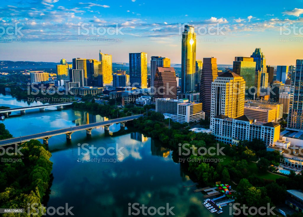 Austin Texas Sunrise Golden Hour Skyline Cityscape Perfect Morning stock photo