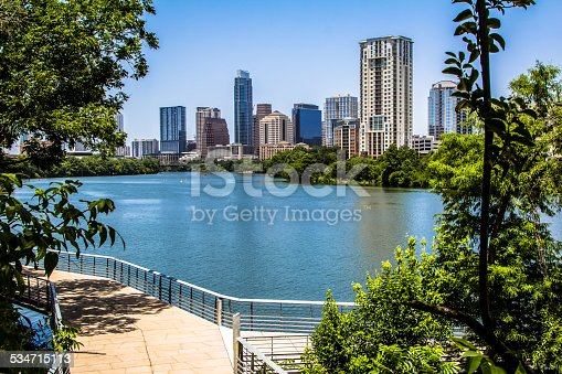 A View of Austin, Texas from The Boardwalk Trail over Lady Bird Lake.
