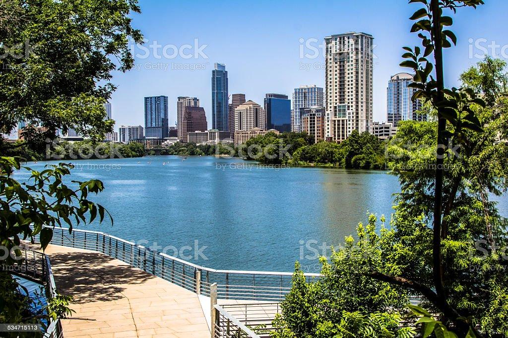 Austin Texas Trail with view stock photo