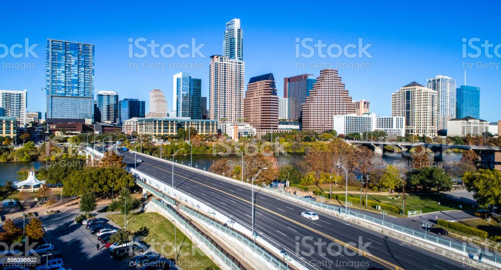 Austin , Texas , USA Skyline Cityscape from the 1st street bridge stock photo