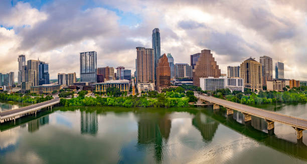Austin Texas USA skyline panorama stock photo
