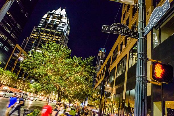 In der Innenstadt von Austin, TX, das Nachtleben, 6th congress street-Kreuzung – Foto