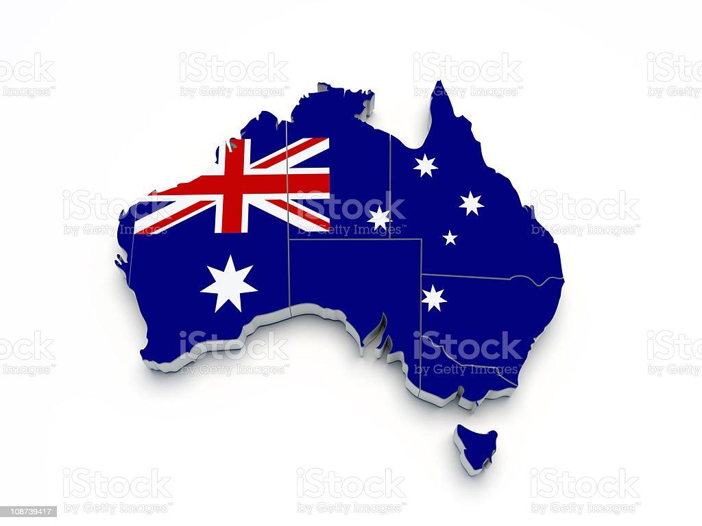 Australia 3D flag map on white stock photo