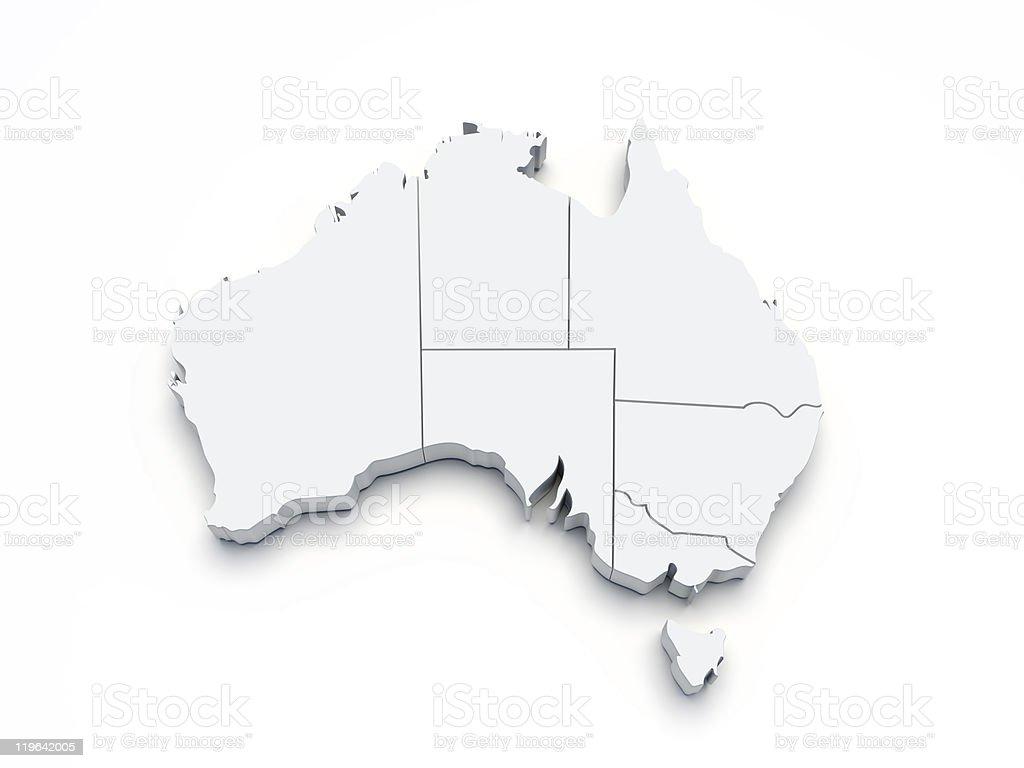 Australia 3D map on white stock photo