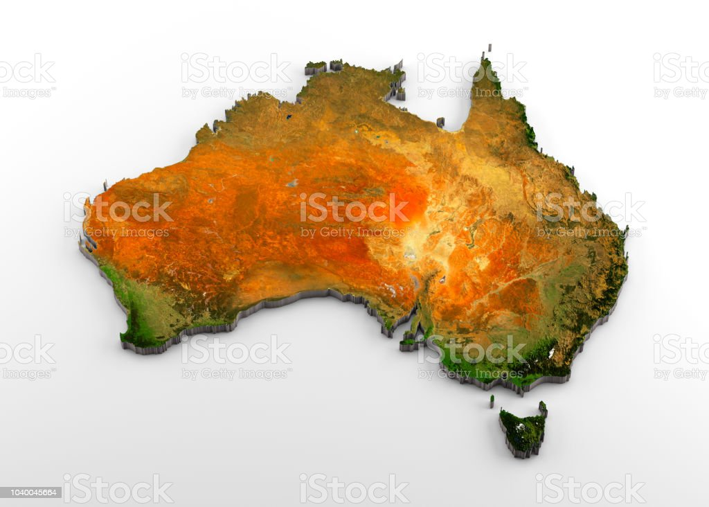Map Of Australian Landscapes.Australia 3d Physical Map With Relief Stock Photo Download Image