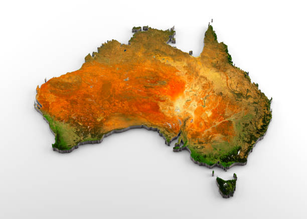 Australia 3D Physical Map with Relief stock photo
