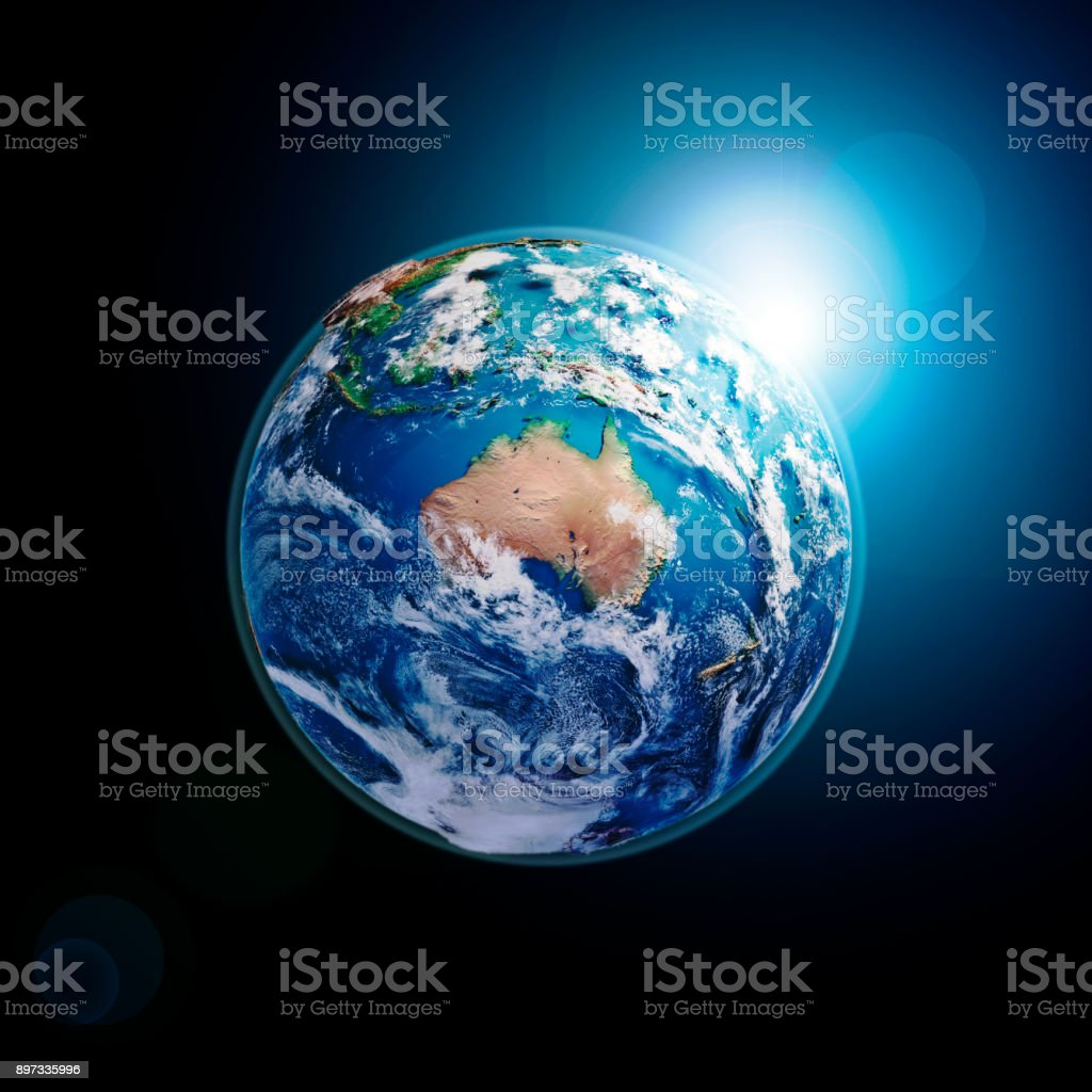 Australia 3D Render Planet Earth Clouds Dark Space stock photo