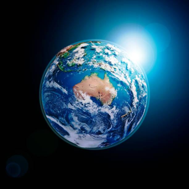 Australia 3D Render Planet Earth Clouds Dark Space stock photo