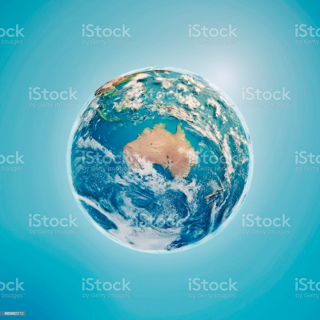 Australia 3D Render Planet Earth Clouds stock photo
