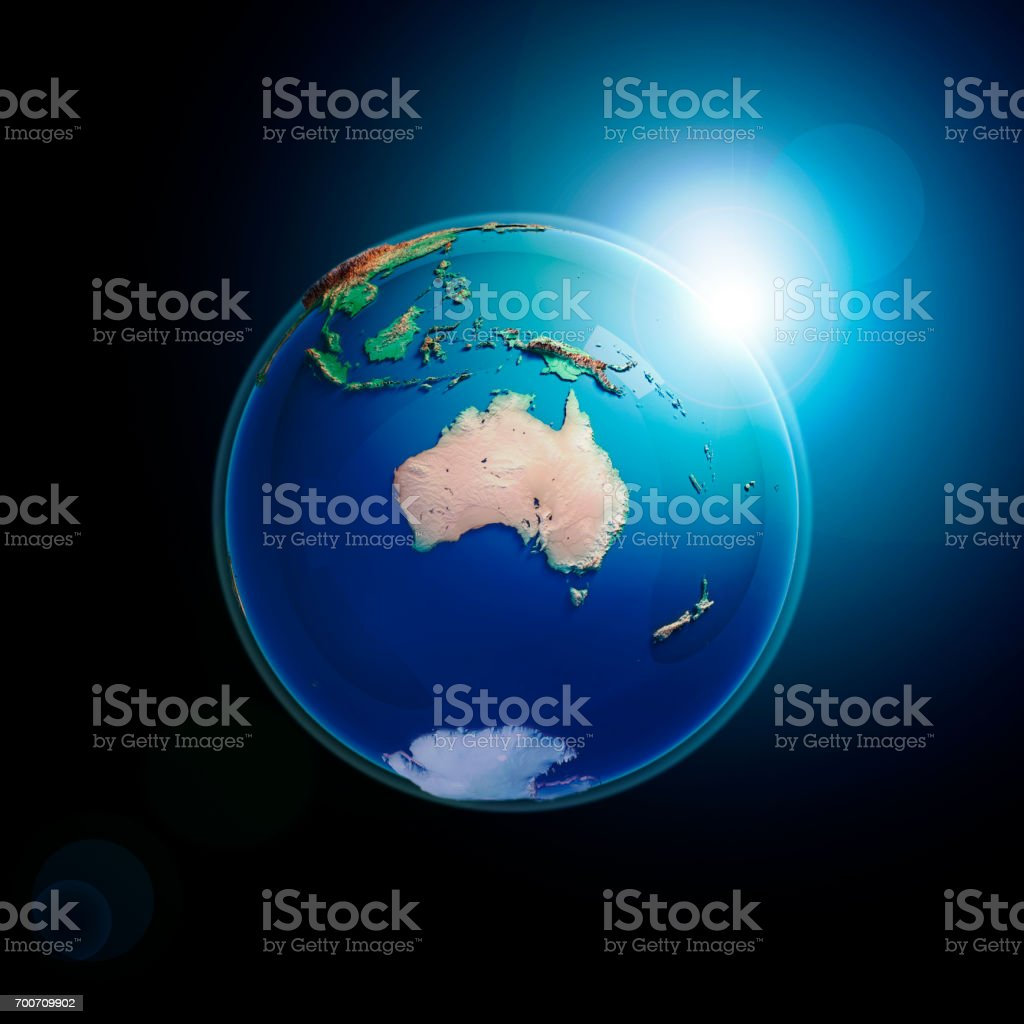 Australia 3D Render Planet Earth Dark Space stock photo