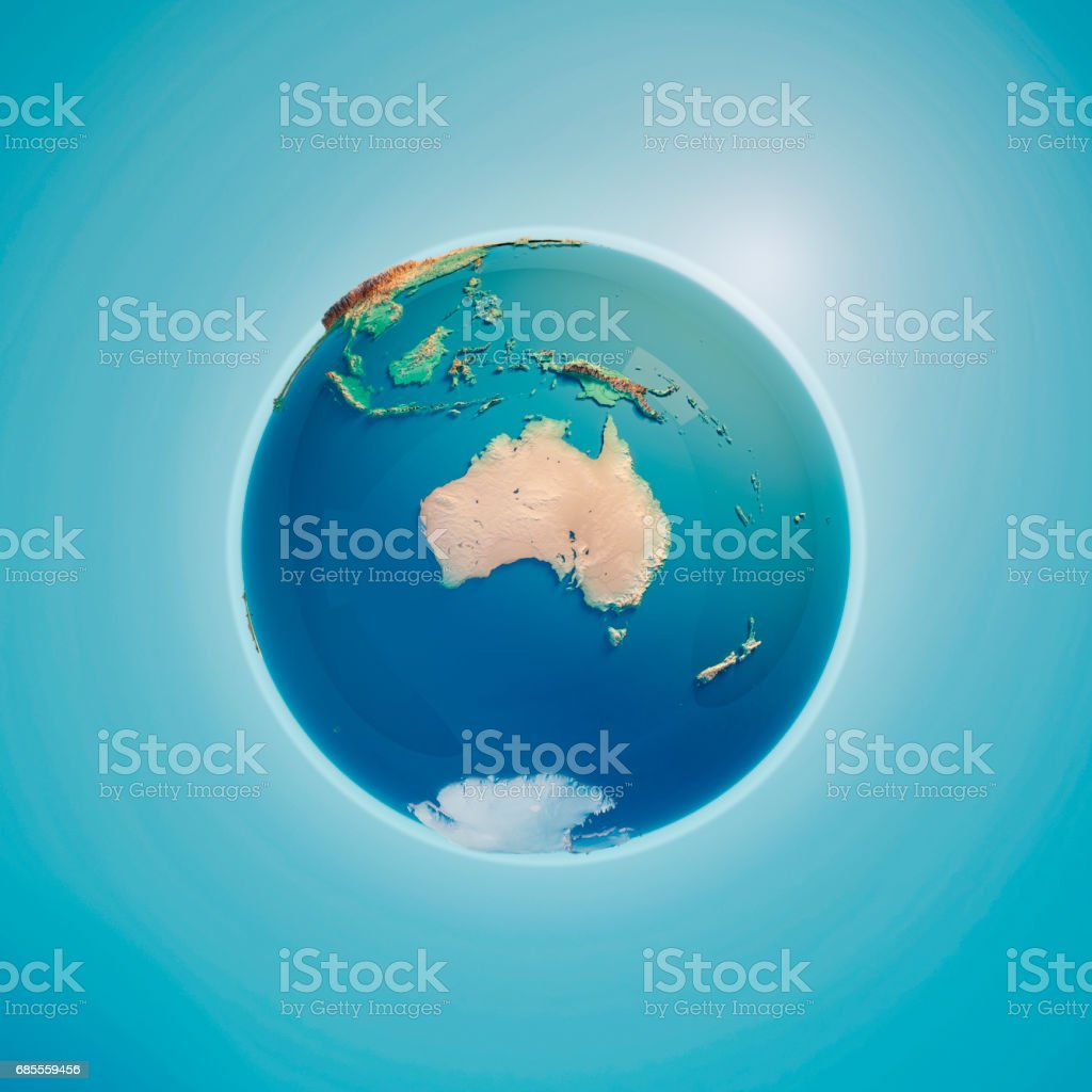 Australia 3D Render Planet Earth stock photo