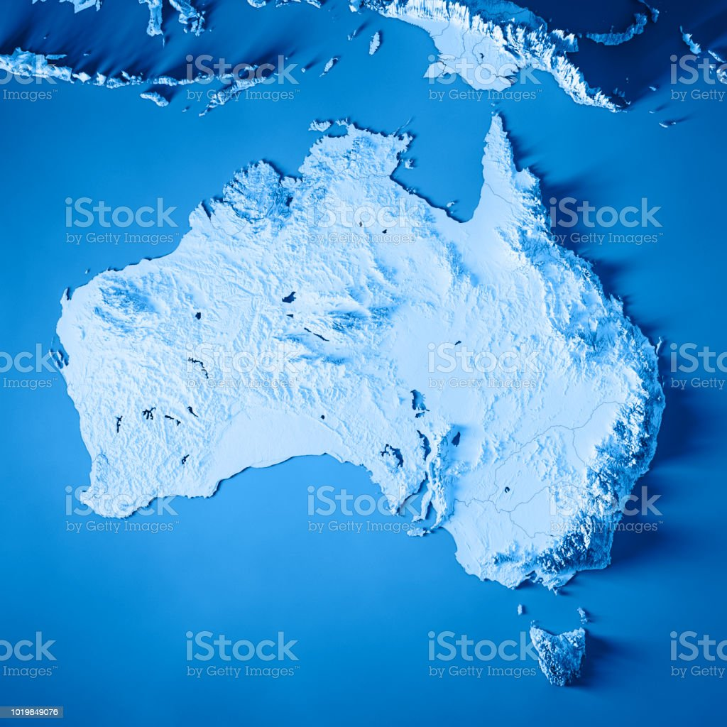 Australia 3D Render Topographic Map Blue stock photo