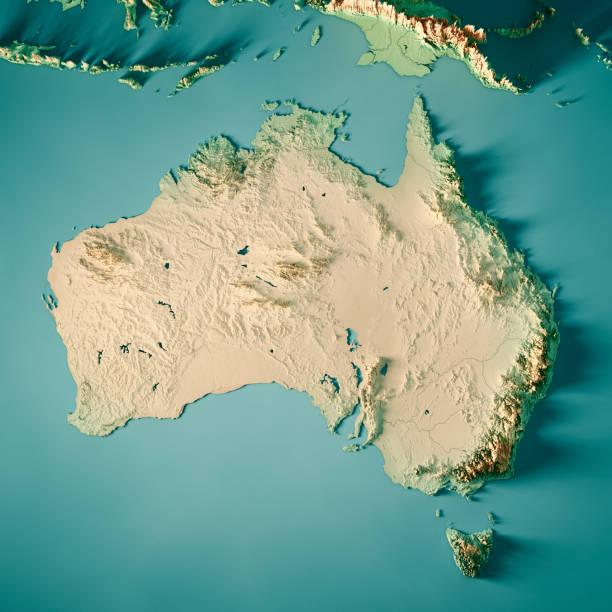 Australien-3D Render Topographische Karte Farbe – Foto