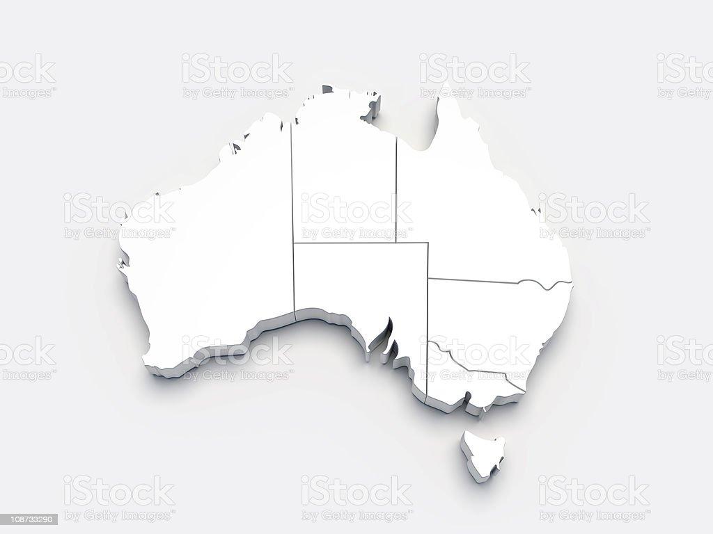 Australia 3D white map on gray stock photo