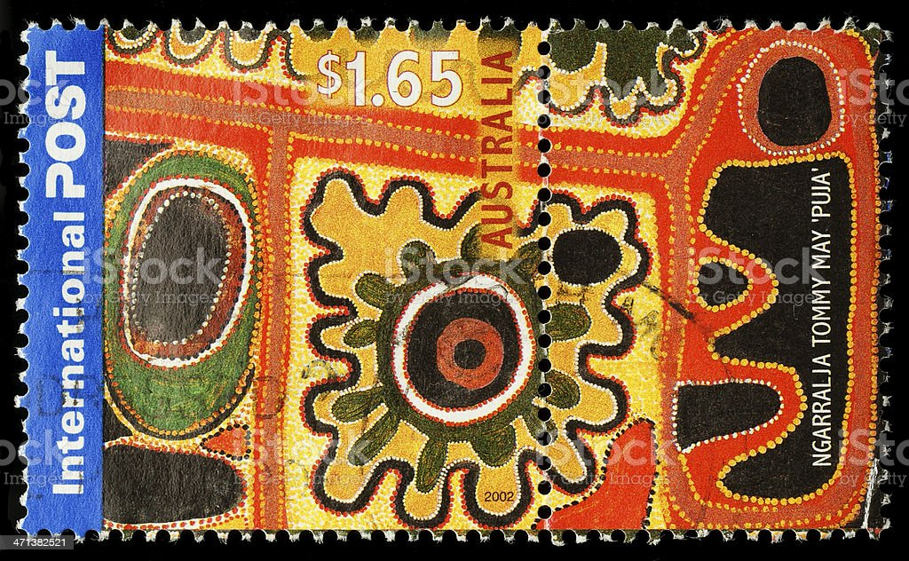 Australia Aboriginal Painting Postage Stamp stock photo