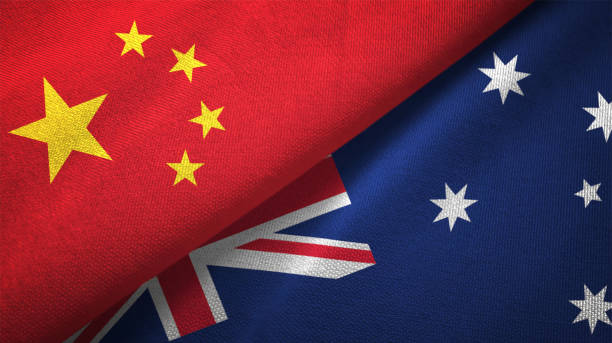 Australia and China two flags together realations textile cloth fabric texture stock photo