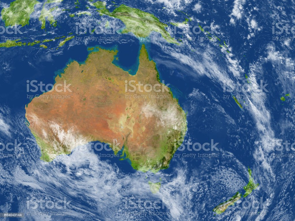 Australia and New Zealand on planet Earth stock photo