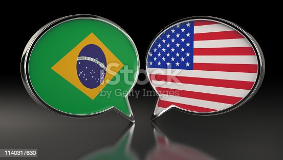 istock Australia and USA flags with Speech Bubbles. 3D Illustration 1140317630