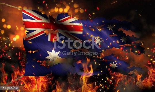 istock Australia Burning Fire Flag War Conflict Night 3D 517829731