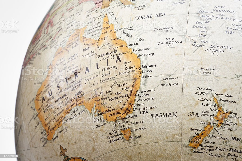 Australia close up on globe royalty-free stock photo