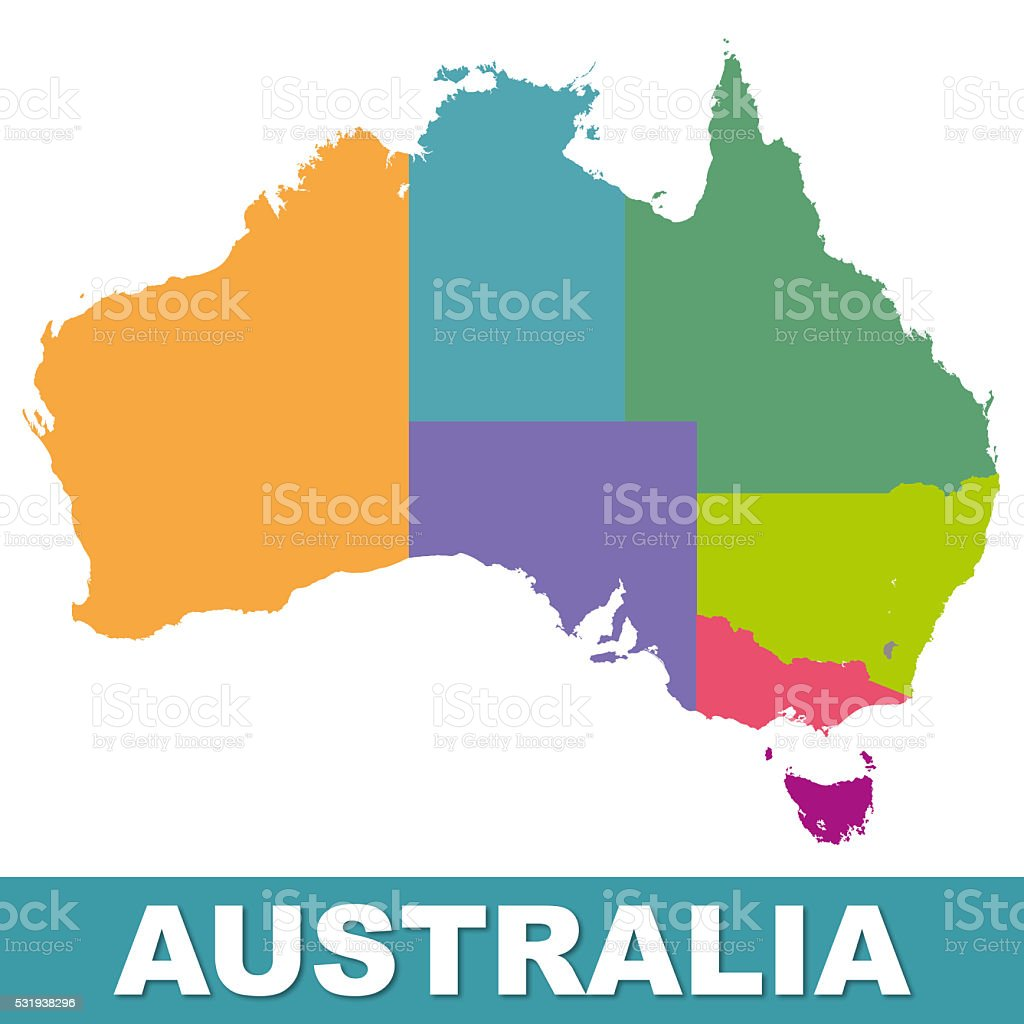 Australia color map with regions. Illustration stock photo