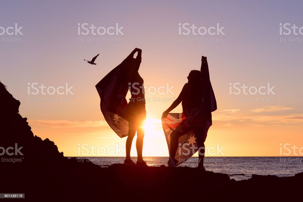 Australia Day Flag with Teenagers stock photo
