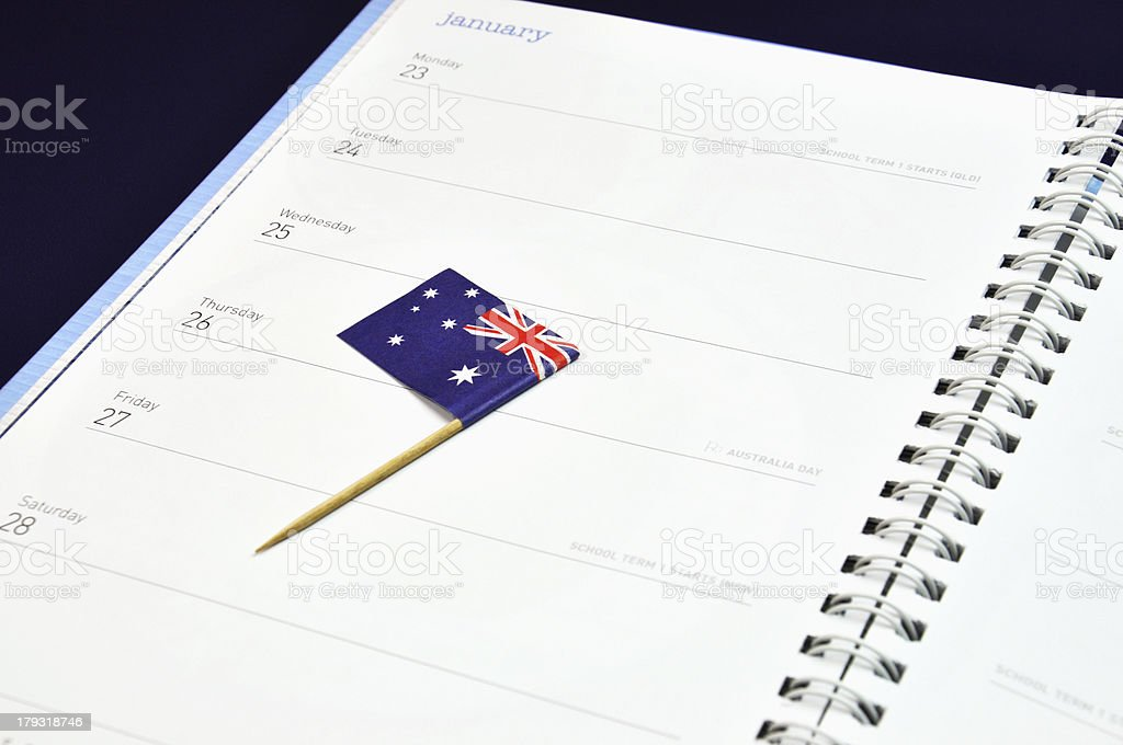 Australia Day January 26, Australian flag placed in journal diary royalty-free stock photo