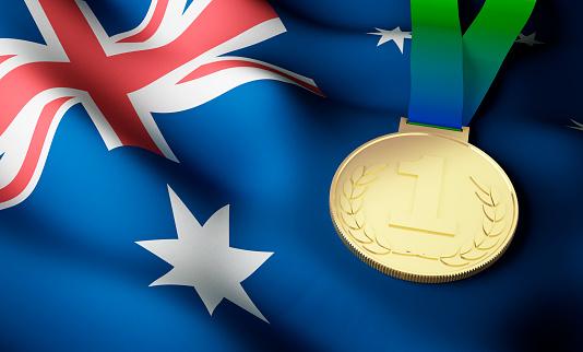 Australia flag, gold medal