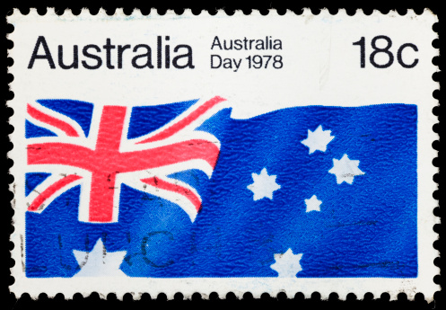 A 1978 Australia stamp with an image of the Australian flag.