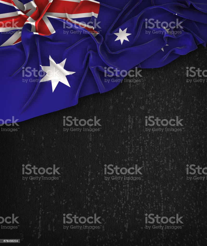 Australia Flag Vintage on a Grunge Black Chalkboard With Space For Text royalty-free stock photo
