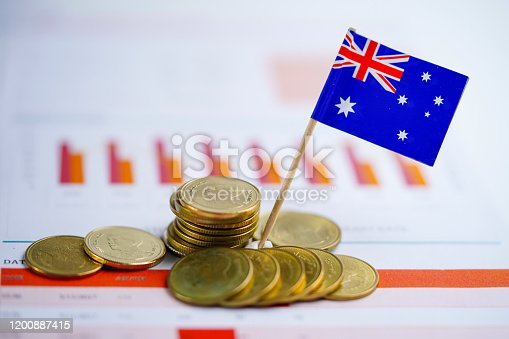istock Australia flag with coins on graph background  : Banking Account, Investment Analytic research data economy, trading, Business company concept. 1200887415