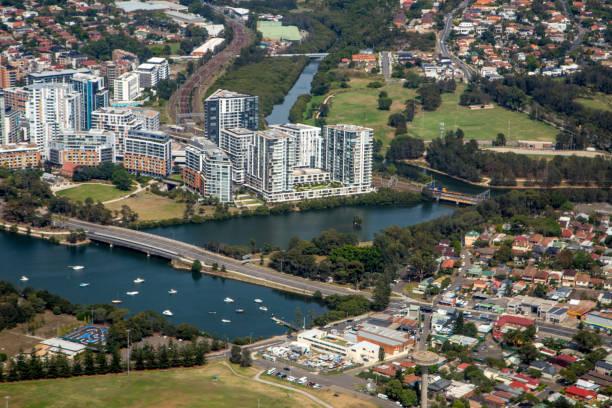 Australia: Flying Over Sydney stock photo