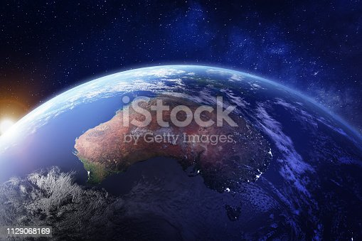 Australia from space at night with city lights of Sydney, Melbourne and Brisbane, view of Oceania, Australian desert, communication technology, 3d render of planet Earth, elements from NASA (https://eoimages.gsfc.nasa.gov/images/imagerecords/57000/57752/land_shallow_topo_21600.tif)