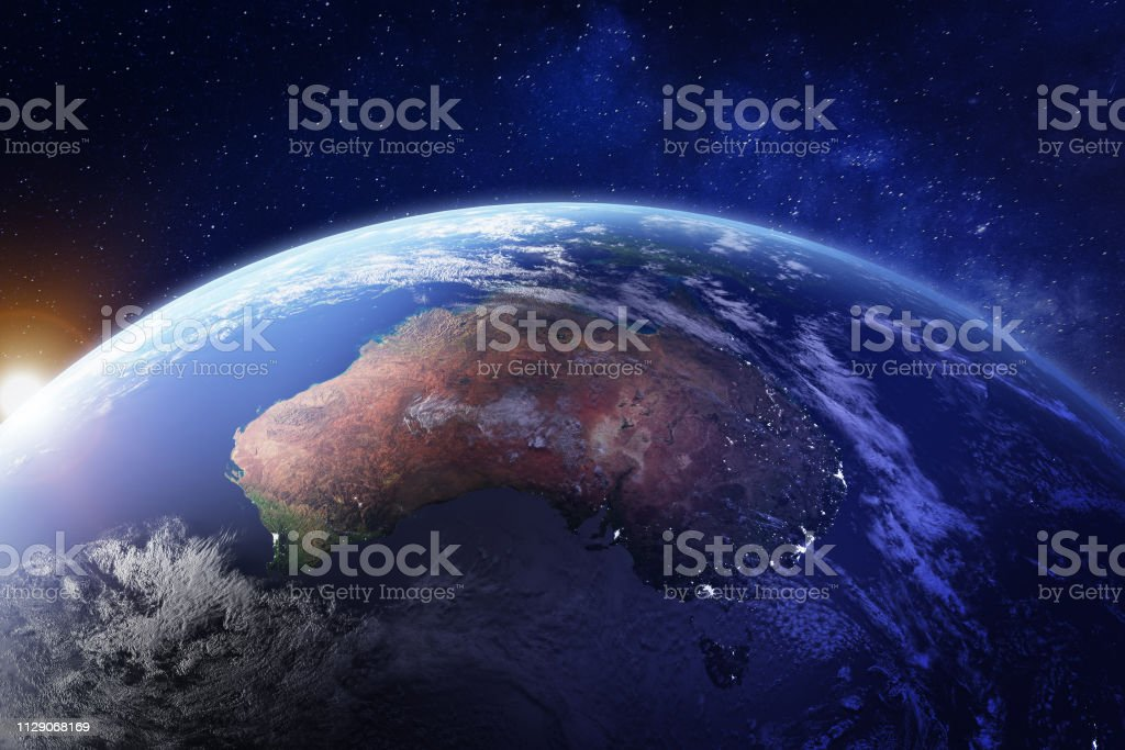 Australia from space at night with city lights of Sydney, Melbourne and Brisbane, view of Oceania, Australian desert, communication technology, 3d render of planet Earth, elements from NASA stock photo