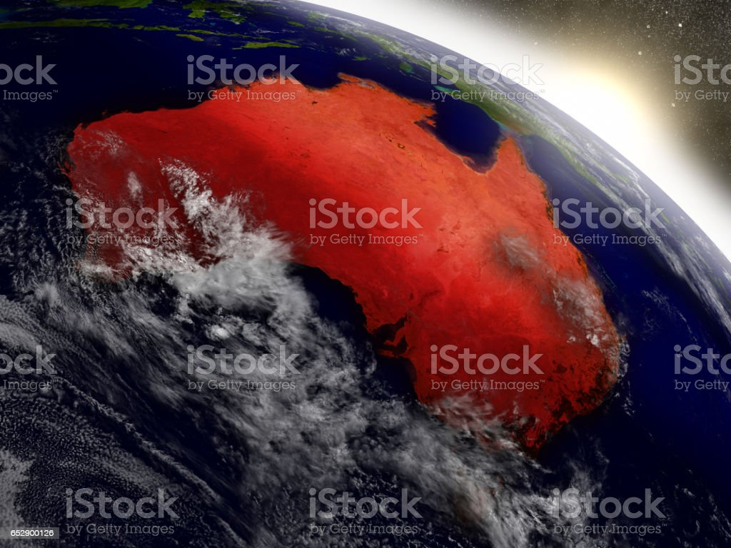 Australia from space highlighted in red stock photo