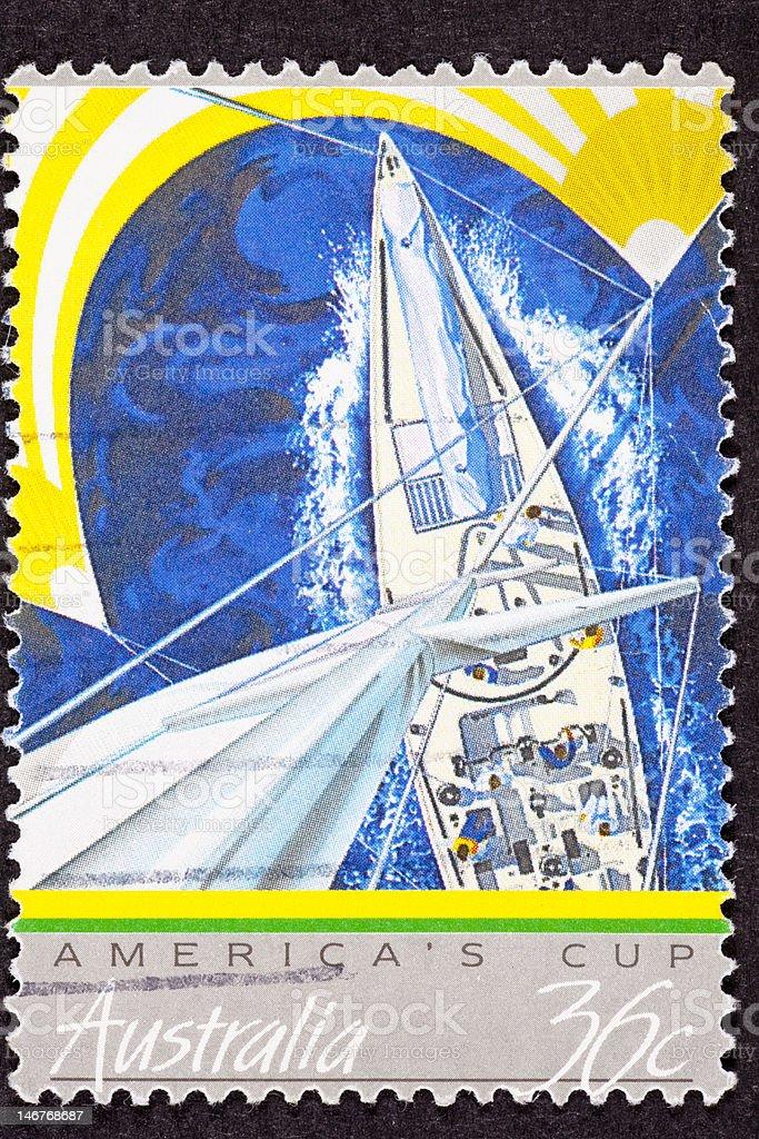 Australia II Postage Stamp America's Cup Yacht Mast Sailboat Sail stock photo