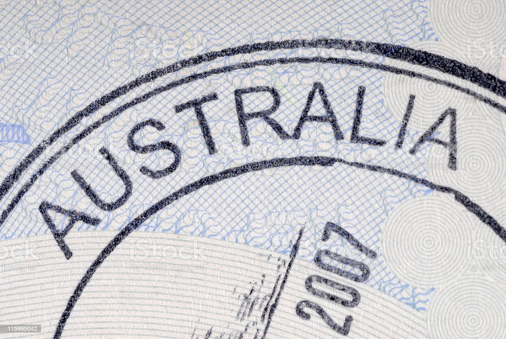 Australia immigration arrival passport stamp royalty-free stock photo