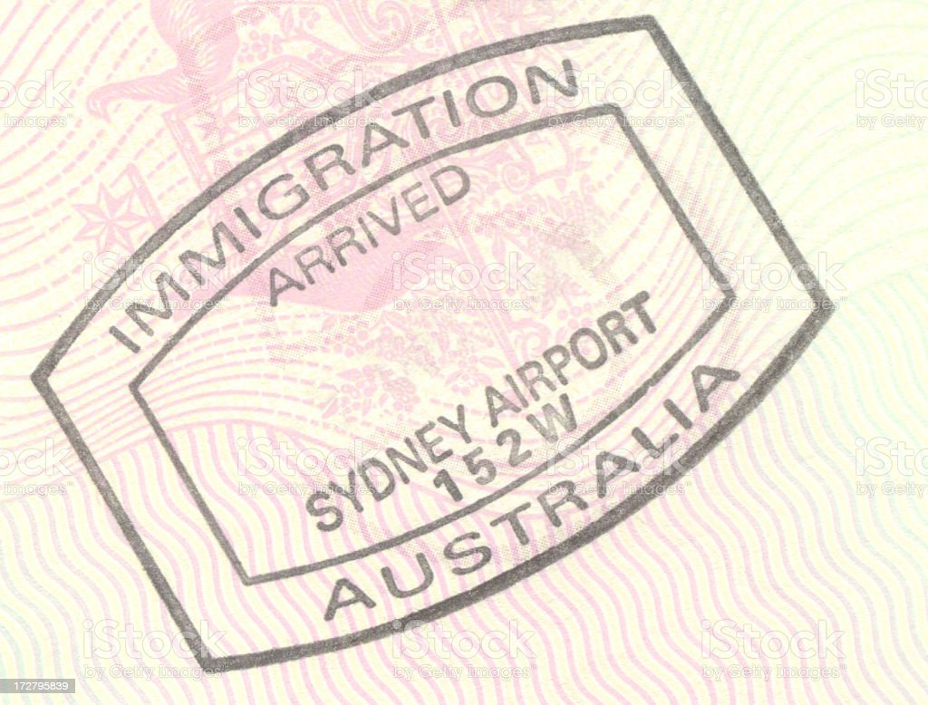 Australia immigration entry stamp stock photo