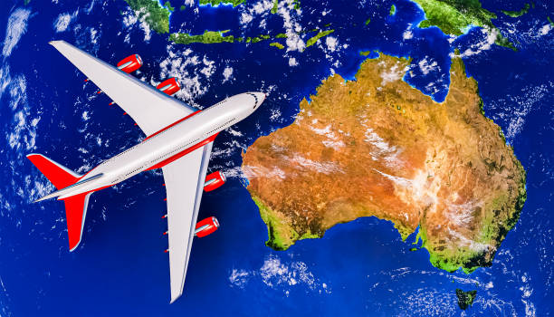 Australia Island with airplane or airliner top view. 3D rendering illustration. Flight to Australia, travel and transportation industry concept. Map texture provided by NASA. stock photo