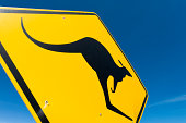 Australia: Kangaroo Crossing Sign Closeup