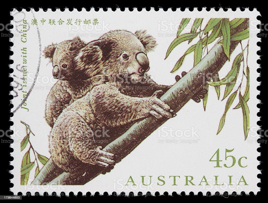 Australia koalas postage stamp royalty-free stock photo
