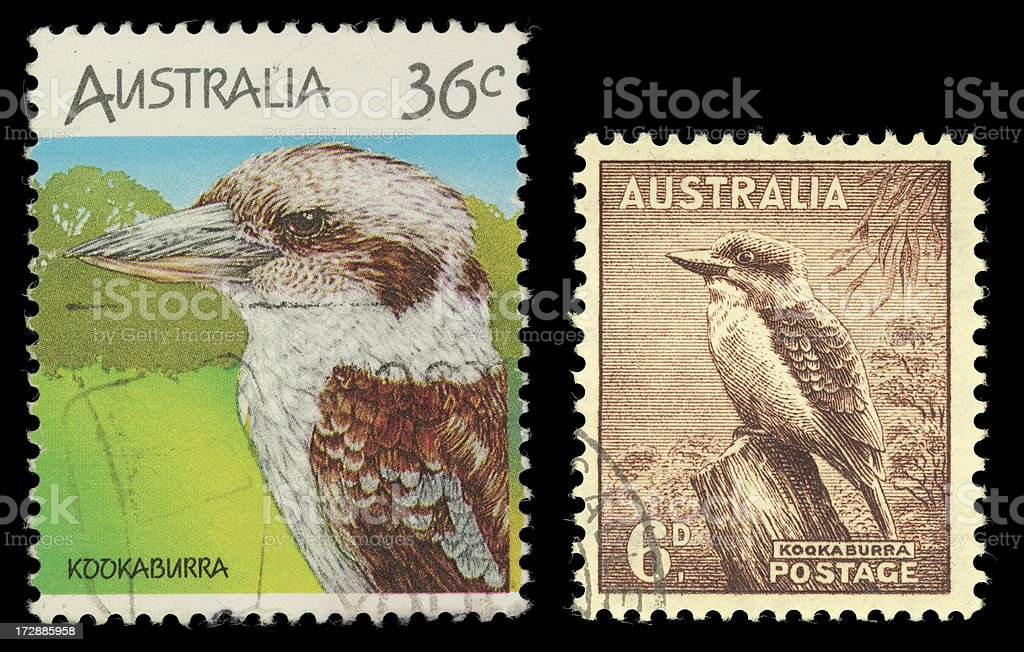 Australia Kookaburra stamps stock photo