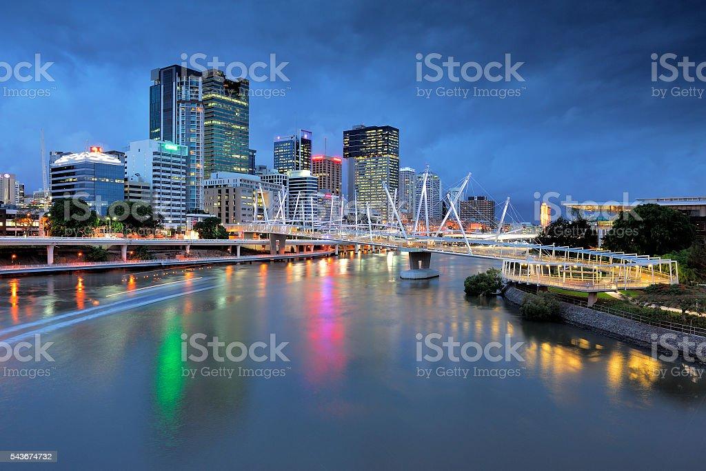 Australia Landscape : Kurilpa Bridge and Brisbane City Skyline stock photo