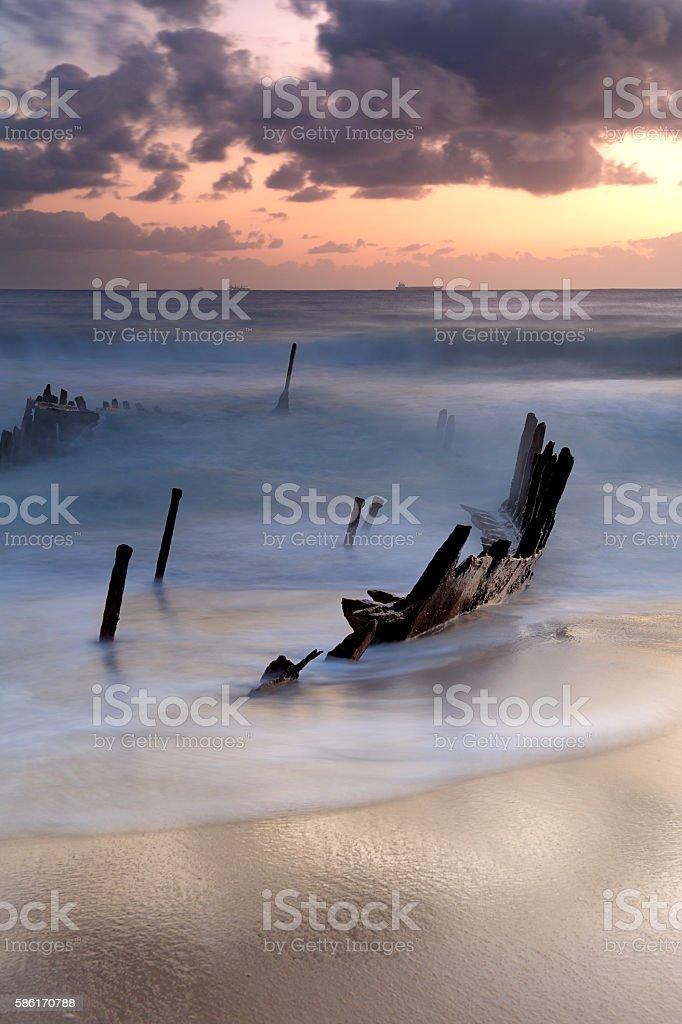 Australia Landscape : Shipwreck at Dicky Beach stock photo