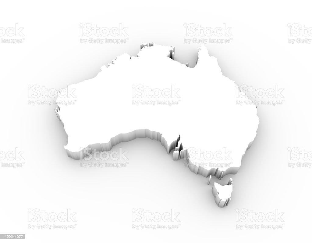 Australia map 3D white and including clipping path stock photo