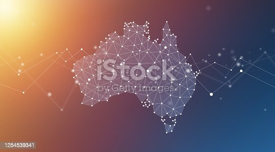 Australia map geometric network polygon graphic background.