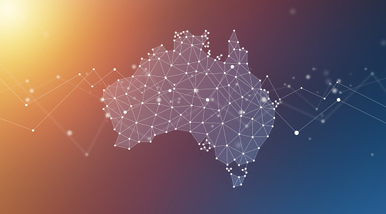 Australia map geometric network polygon graphic background.