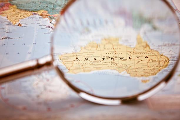 Australia Map, selective focus stock photo